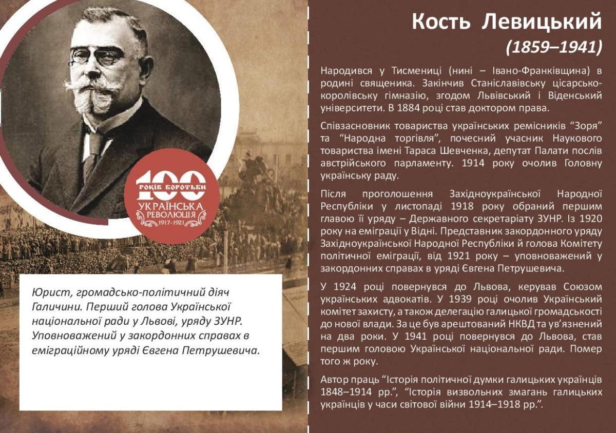 Кость Левицький-Історія в школі