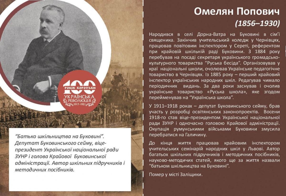 Омельян Попович-Історія в школі